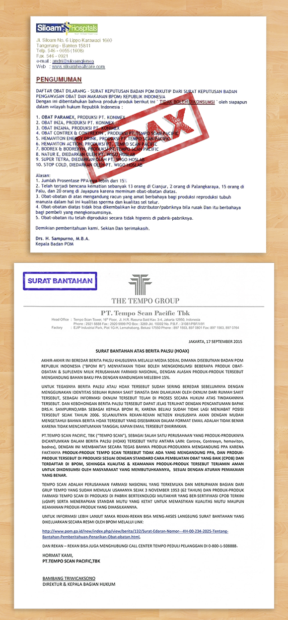 Klarifikasi Dari Pihak PT Tempo Scan Pacific, Tbk